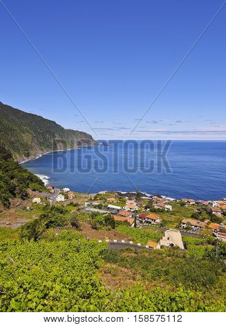 Portugal Madeira Elevated view of Seixal town
