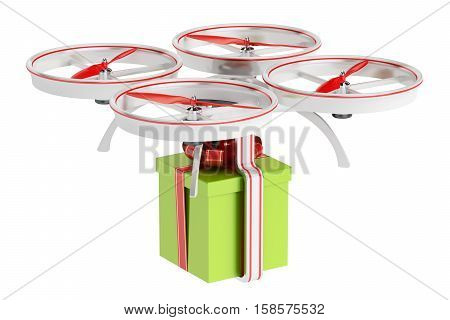 delivery drone with a gift box 3D rendering isolated on white background