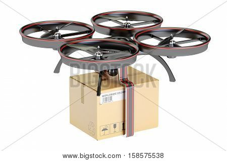 delivery drone with cardboard box parcel 3D rendering isolated on white background
