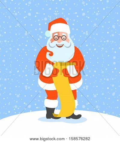 Santa Claus reads Naughty or Nice Kids List. Cartoon vector illustration. Cute character pose. Snow day background. Greeting card design