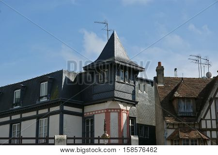 Typical House In Deauville (normandy, France). Deauville Is A Popular Destination For Parisians.