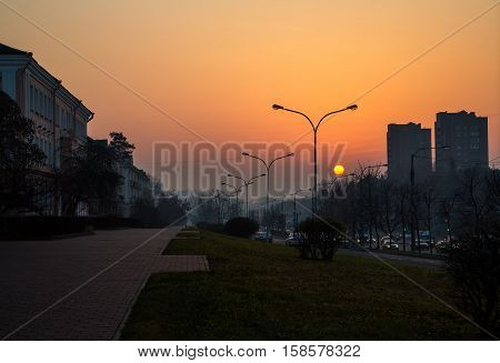 Belarus Minsk Partisan Avenue at dawn panorama of the city 11.11.2014