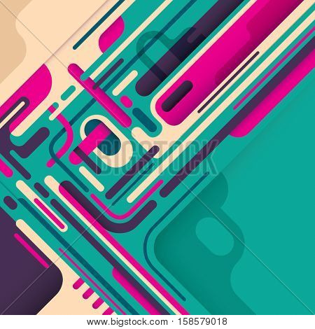 Abstract style composition in color. Vector illustration.