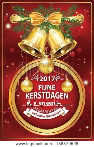 Elegant Dutch corporate greeting card for winter holiday. We wish you Merry Christmas and Happy New Year - Dutch language: Fijne Kerstdagen an Gelukkig Nieuwjaar!