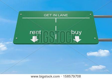 Get In Lane Business Concept: Rent Or Buy 3d illustration