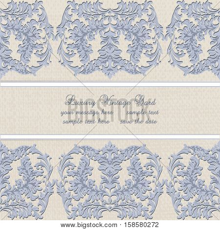 Vector Damask Lace Invitation card with floral ornament. Delicate intricate decorated card for wedding ceremonies, anniversary, party, events. Serenity color