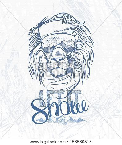 Head Of The Lion Snowboarder And Hand Lettering Let It Snow On The Grunge Background. Use For Print,