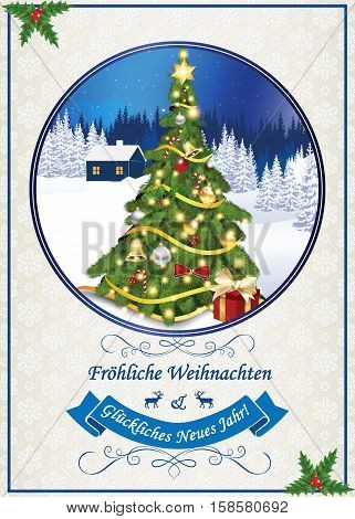 Classic German greeting card for Winter holidays. German text: Merry Christmas and Happy New Year (Frohliche Weihnachten und ein Gluckliches Neues Jahr). Print colors used, Size 5''7
