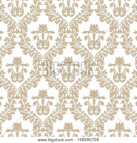 Vintage Imperial Baroque ornament pattern. Vector damask decor. Royal Victorian texture for wallpapers, textile, fabric. Russet color