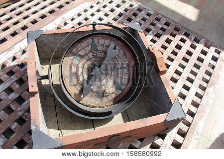 Replica of an old ship's compass circa the time of Magellan
