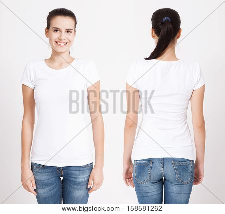 T-shirt design and people concept - close up of young woman in blank white t-shirt isolated.