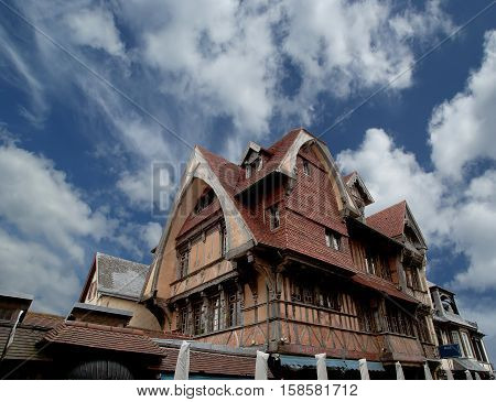 Stylized Half-timbered House. Etretat, France. Etretat Is A Commune In The Seine-maritime Department