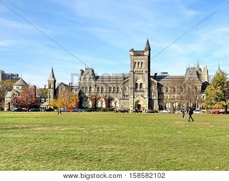 Toronto Canada November 2016: The main building of the University of Toronto.