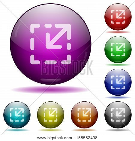 Resize element color glass sphere buttons with shadows.