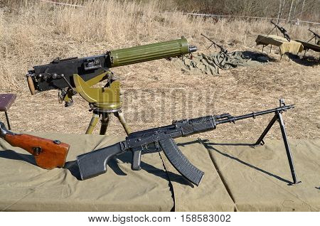 Military weapons ready to use at a military training ground.