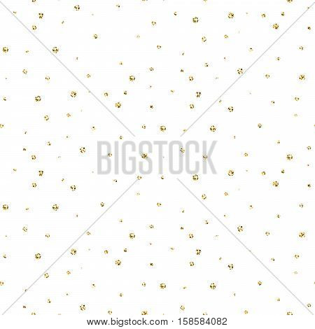 Abstract dotted glitter gold snow seamless vector pattern. Shimmer circles background texture.