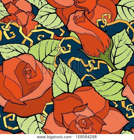 Seamless ornamental colorful pattern with stylized red roses and abstract flowers. Ethnic floral design template can be used for wallpaper, pattern fills, textile, fabric, wrapping, surface textures