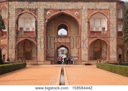 DELHI, INDIA - FEBRUARY 13 : Humayun's Tomb, built by Hamida Banu Begun in 1565-72, Delhi, India on February 13, 2016