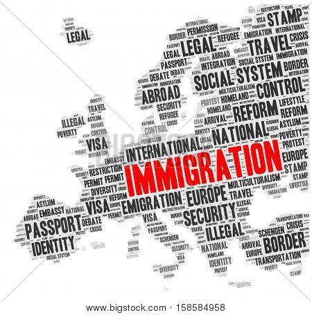 Immigration word cloud concept in a shape of Europe silhouette