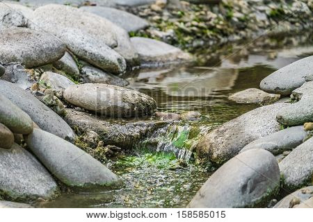 Creek in the stone bed. Pure stream flowing in the gravels and boulders. Photo with limited depth of field.