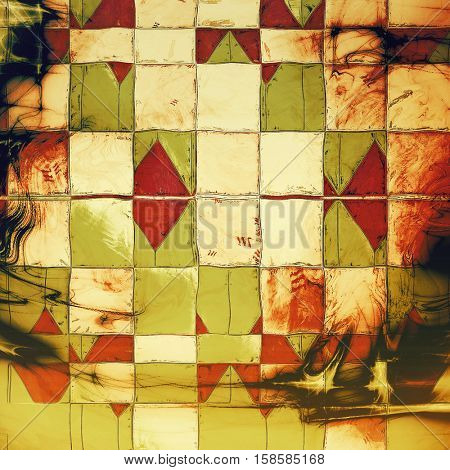 Geometric scratched grunge background or spotted vintage texture. With different color patterns: yellow (beige); brown; green; red (orange); white; black