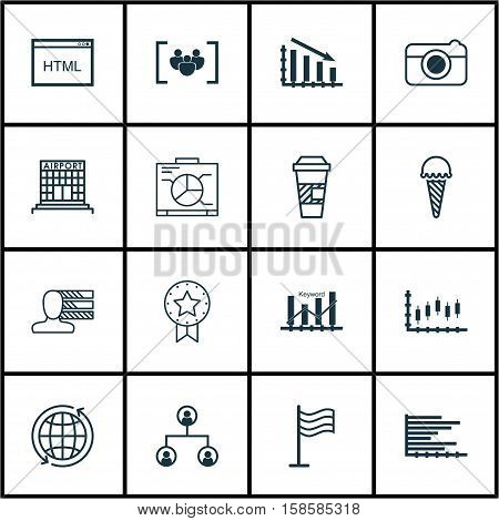 Set Of 16 Universal Editable Icons. Can Be Used For Web, Mobile And App Design. Includes Icons Such As Coding, World, Fail Graph And More.