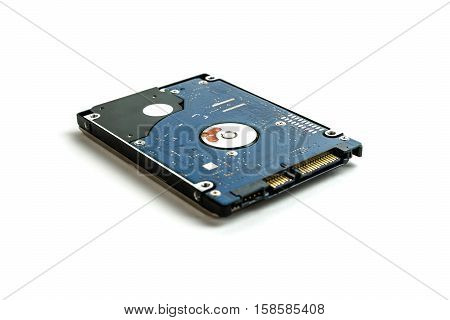 2.5 inch laptop HDD. A bottom view of the part of the PCB, SATA connectors to the camera. Isolated on white background.