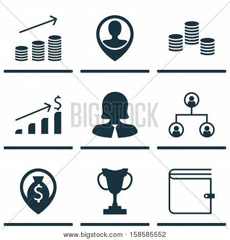 Set Of Human Resources Icons On Coins Growth, Tree Structure And Money Topics. Editable Vector Illustration. Includes Increase, Structure, Coins And More Vector Icons.