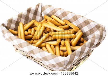 Crispy bread sticks with salt and spices. Studio Photo