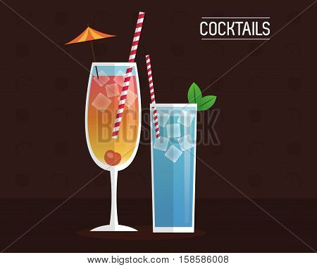 cocktails blue and mimosa black background vector illustration eps 10