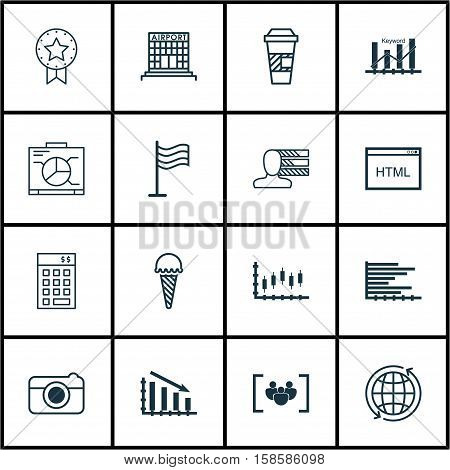 Set Of 16 Universal Editable Icons. Can Be Used For Web, Mobile And App Design. Includes Icons Such As Takeaway Coffee, Coding, Stock Market And More.
