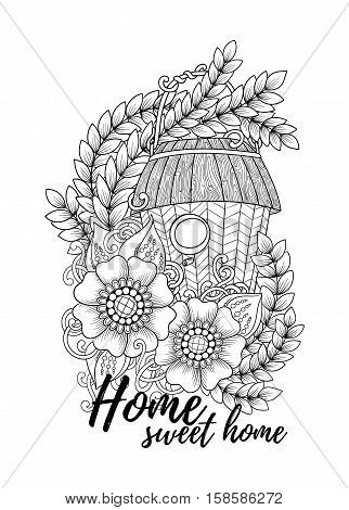Black and white wood nesting boxes. Hand drawn outline bird houses decorated with floral ornament. Zentangle inspired pattern for coloring book pages for adults and kids, tattoo, poster. Boho style.