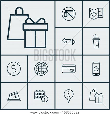 Set Of Travel Icons On Crossroad, Call Duration And Drink Cup Topics. Editable Vector Illustration. Includes Mobile, Info, World And More Vector Icons.