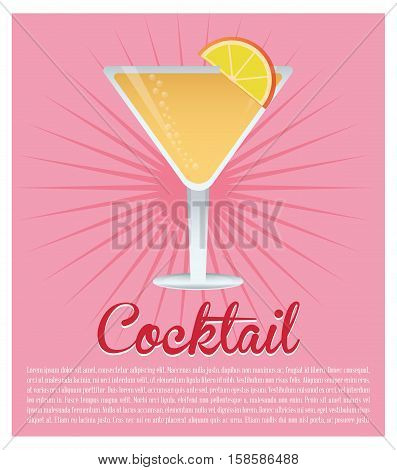 cocktail cosmopolitan drink pink background vector illustration eps 10