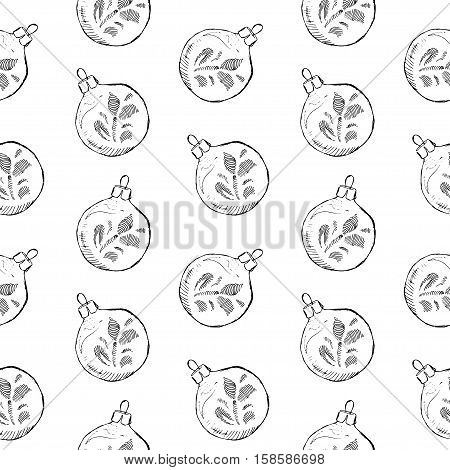 Seamless pattern of vintage hand drawn balls and toys. Christmas and New Year design elements.