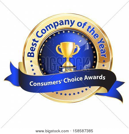 Best company of the year, Consumer's Choice award - golden blue shiny icon / ribbon
