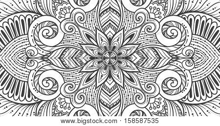 Asian ethnic floral retro doodle black and white background pattern in vector. Islam, Arabic, Indian, ottoman motifs design tribal pattern. Zentangle circles for printing on fabric or paper.