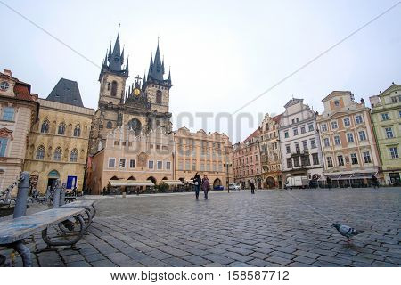 Prague, Czechia - November, 21, 2016: Gothic Church of Our Lady before T�½n on Old Town Square in a center of Prague, Czechia