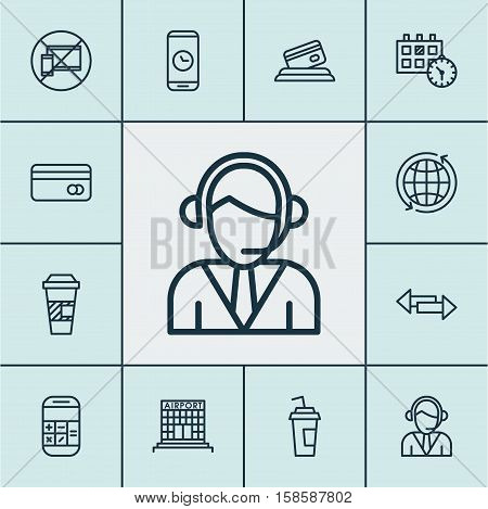 Set Of Travel Icons On Forbidden Mobile, Takeaway Coffee And Drink Cup Topics. Editable Vector Illustration. Includes Cup, Drink, Takeaway And More Vector Icons.