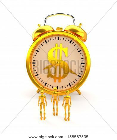 Golden alarm clock with dollar sign, figures and clipping path.
