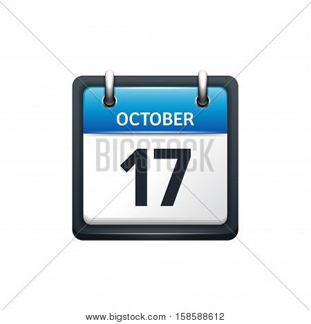 October 17. Calendar icon.Vector illustration, flat style.Month and date.Sunday, Monday, Tuesday, Wednesday, Thursday, Friday, Saturday.Week, weekend, red letter day. 2017, 2018 year.Holidays.