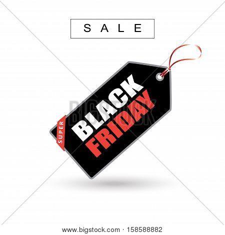 Sale tag price on white background. Black Friday Sale inscription tag price sticker. Vector illustration.