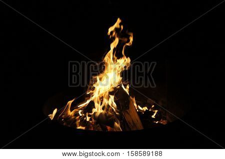 A Camping Bonfire with a Black Background