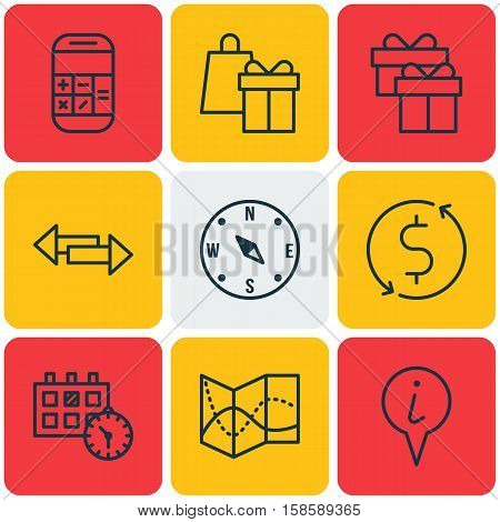 Set Of Transportation Icons On Crossroad, Calculation And Present Topics. Editable Vector Illustration. Includes Calendar, Pointer, Holiday And More Vector Icons.