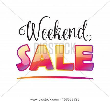 Sale banner. Weekend Sale inscription on white background. Vector illustration. Autumn Sale poster.