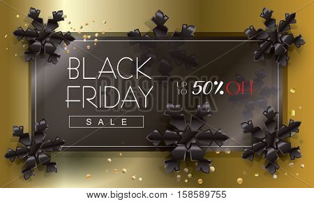 Sale poster design, template. Vector illustration. For Black Friday Sale discount. Card with black snowflakes. Holiday Sale Advertising web banner.