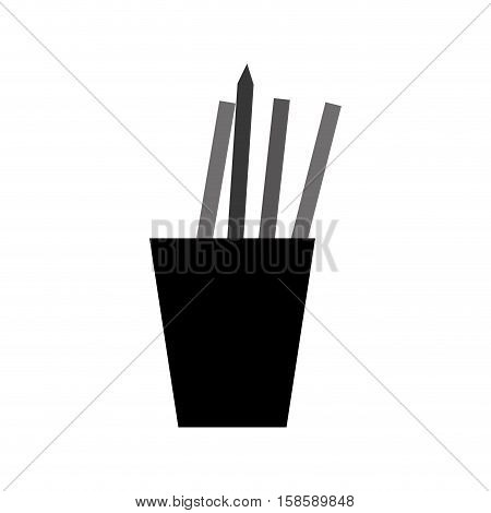 monochromatic cup pencils pens utensils working vector illustration eps 10