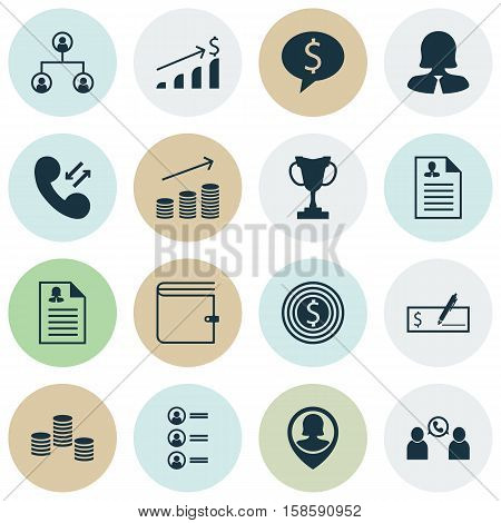 Set Of Management Icons On Business Woman, Tree Structure And Wallet Topics. Editable Vector Illustration. Includes Trophy, Application, Tree And More Vector Icons.