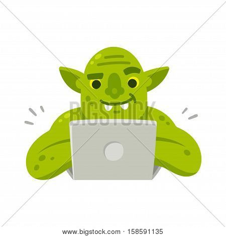 Internet troll with computer. Funny cartoon vector illustration of green goblin typing on laptop.