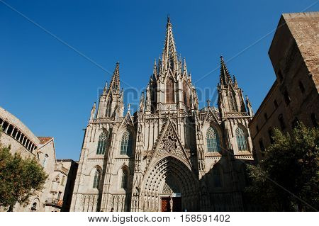 Barcelona Spain - Cathedral of the Holy Cross and Saint Eulalia Barri Gothic